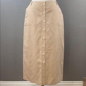 vintage LizSport linen blend button front maxi